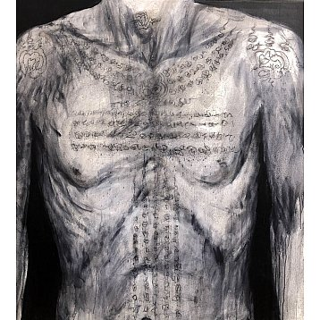 tattooed torso an original painting by ping kongklom