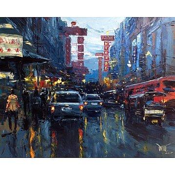 downpour in chinatown 1  yaowarat an original oil painting by dusit pimchangthong
