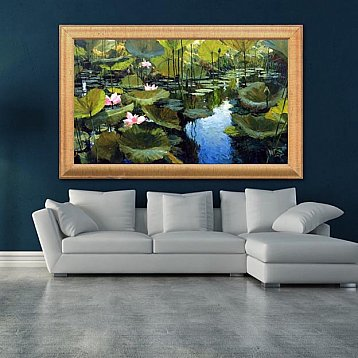 waterlilies  an original painting by artist dusit pimchangthong