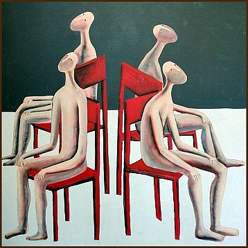 musical chairs an original painting by kitti narod