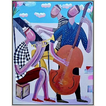 trio and original framed painting by kitti narod