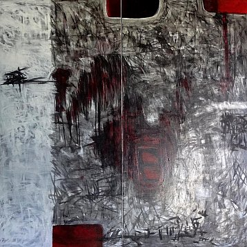 transition an original diptych painting by vichit nongnual