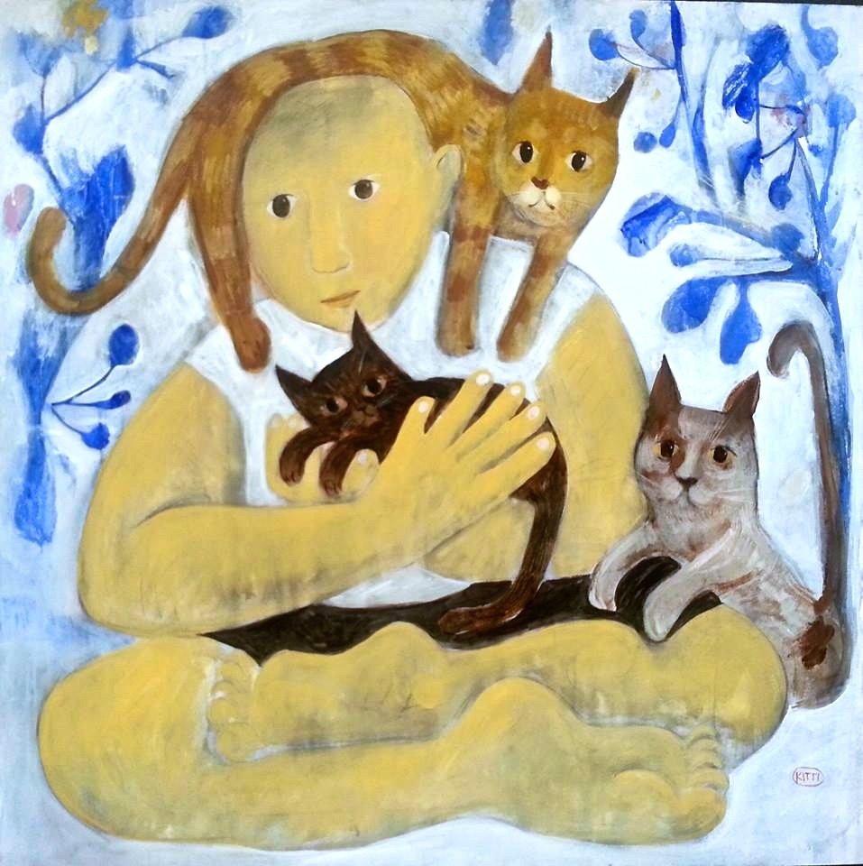 Catnip, an original framed painting by Kitti Narod Gallery