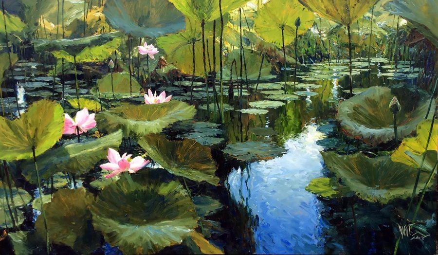 Waterlilies : an original painting by artist Dusit Pimchangthong Gallery