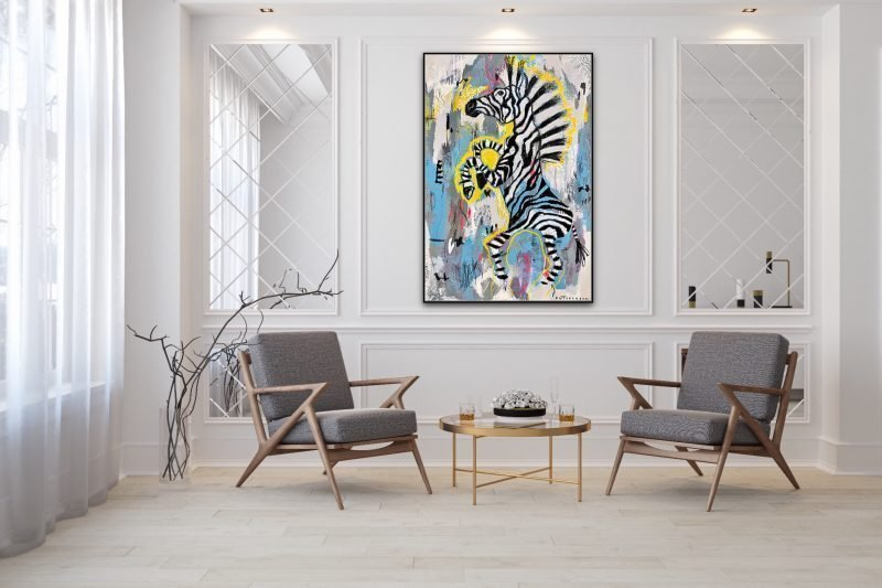 """In A World Full of Sheep, Be a Zebra"" an original painting by Nadia Düsselberg Gallery"